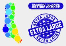 Spectrum Mosaic Grande Comore Island Map and Distress Extra Large Watermark. Rainbow colored dotted Grande Comore Island map and stamps. Blue rounded Extra Large royalty free illustration