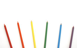 Spectrum Of Pencil Crayons Stock Images