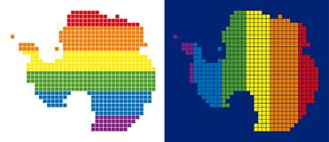 Spectrum Pixel Dotted Antarctica Map. Dotted LGBT Antarctica map versions. Vector geographic schemes in LGBT rainbow colors with vertical and horizontal royalty free illustration