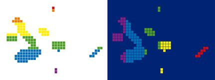 Spectrum Pixel Dotted Galapagos Islands Map. Dotted LGBT Galapagos Islands map variants. Vector geographic maps in rainbow colors with vertical and horizontal Stock Photos