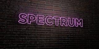 SPECTRUM - Realistisch Neonteken op Bakstenen muurachtergrond - 3D teruggegeven royalty vrij voorraadbeeld Royalty-vrije Stock Foto's