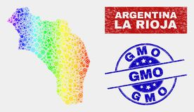 Spectrum Service La Rioja of Argentina Map and Distress GMO Seals. Factory La Rioja of Argentina map and blue GMO distress seal. Rainbow colored gradient vector stock illustration