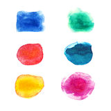 Spectrum watercolor blots. Colorful design elements isolated on white background stock illustration
