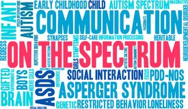 On The Spectrum Word Cloud. On a white background Stock Photo