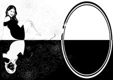 Specular reflection. Mirroring the young girl. The illustration on a white background Stock Photography