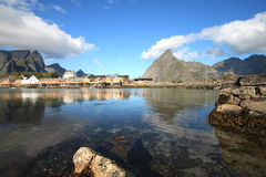 Specular  Sakrisoy seen from Hamnoy Royalty Free Stock Photos