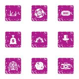 Speculate house icons set, grunge style. Speculate house icons set. Grunge set of 9 speculate house vector icons for web isolated on white background royalty free illustration