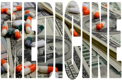 Costly medicines. Speculation medicines and pharmaceutical fraud concerns royalty free stock photography