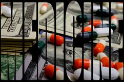 Costly medicines. Speculation medicines and pharmaceutical fraud concerns royalty free stock images