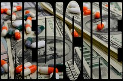 Costly medicines. Speculation medicines and pharmaceutical fraud concerns royalty free stock photos