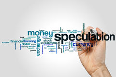 Speculation word cloud. Concept on grey background stock photos