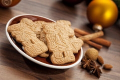 Speculoos cookies and christmas decoration Royalty Free Stock Images
