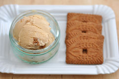 Speculoos Ice Cream. Homemade Speculoos Ice Cream with Cookies royalty free stock photos