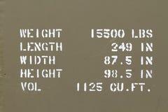 Specyfikacje pojazd wojskowy Zdjęcia Stock