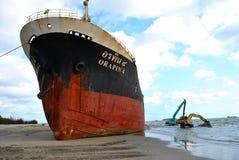 Spedica con carico sul canale di Kiel, Germania Fotografie Stock Libere da Diritti