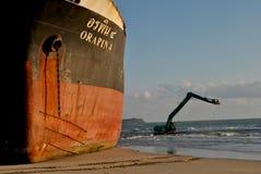 Spedica con carico sul canale di Kiel, Germania Fotografia Stock