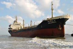 Spedica con carico sul canale di Kiel, Germania Fotografie Stock