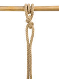 Spedica le corde con un nodo isolato su bianco Immagini Stock
