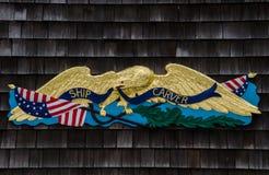 Spedisca il segno dell'intagliatore - il porto marittimo mistico, Connecticut, U.S.A. Immagine Stock