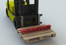 Spedizione, messaggio sul pillet di legno con il carrello elevatore a forcale Fotografie Stock
