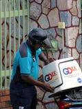 Spedizione Rider Out On Delivery di GDExpress fotografia stock