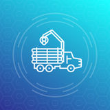 Spedizioniere, registratore automatico, registrante la linea icona del camion illustrazione vettoriale