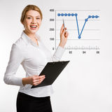 Speech. Portrait of confident  businesswoman doing a presentation Stock Image