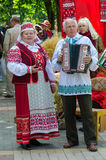 Speech of amateur ensemble in national Belarusian costumes. GOMEL, BELARUS - MAY 16, 2014: Outdoor events City of Masters. Speech of amateur ensemble in national stock photo