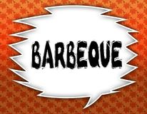 Speech balloon with BARBEQUE text. Flowery wallpaper background. Illustration vector illustration