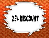 Speech balloon with 25 PERCENT DISCOUNT text. Flowery wallpaper background. Illustration Royalty Free Stock Photography