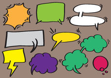 Speech Balloon and Thought Bubbles Vector Cartoon Illustration Royalty Free Stock Photo