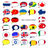 Speech balloons with the design of the flags of popular countrie. S stock illustration