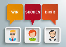 3 Speech Balloons Frames Humans Wir Suchen Dich. German text Wir Suchen Dich, translate We Want You Royalty Free Stock Images