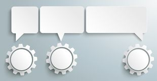 3 Speech Balloons Gears Header. 3 gears with rectangle speech bubbles on the gray background stock illustration