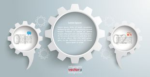 3 Speech Balloons Gears Header Infographic. Speech bubble gears infographic on the gray background Stock Image