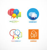 Speech box bubble question logo icon set Royalty Free Stock Photography