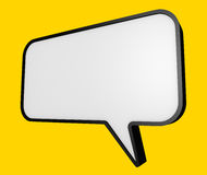 Speech bubble. Against a yellow background. 3D rendered illustration Stock Images