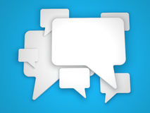 Speech Bubble. Blank Speech Bubble on Blue Background royalty free illustration