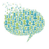 Speech bubble. Composed from many people silhouettes. Social network concept, vector, EPS8 Stock Photos