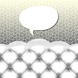 Speech bubble. Vector speech bubble on wall, couch with upholstery pattern on seamless wallpaper background Royalty Free Stock Photo