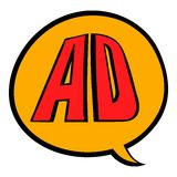 Speech bubble with AD letters icon cartoon royalty ilustracja