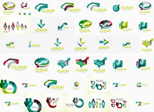 Speech bubble and arrows logo set Stock Images