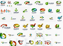 Speech bubble and arrows logo set Royalty Free Stock Images