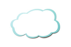 Speech bubble as a cloud with blue border isolated on white background. Copy space. Colorful speech bubble as a cloud with blue border isolated on empty white stock illustration