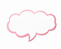 Speech bubble as a cloud with pink border isolated on white background. Copy space Stock Photography