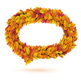 Speech bubble of autunm fall orange leaves. Speech bubble of autunm fall bright orange leaves Stock Photos