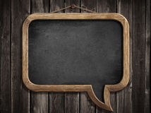 Speech bubble blackboard or chalkboard hanging on wall Royalty Free Stock Photos