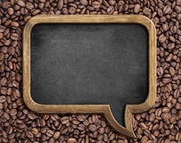 Speech bubble blackboard over coffee beans background Royalty Free Stock Image