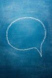 Speech Bubble. Blank speech bubble on blue chalkboard Royalty Free Stock Images