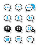 Speech bubble, blog, contact  icons set Royalty Free Stock Photos